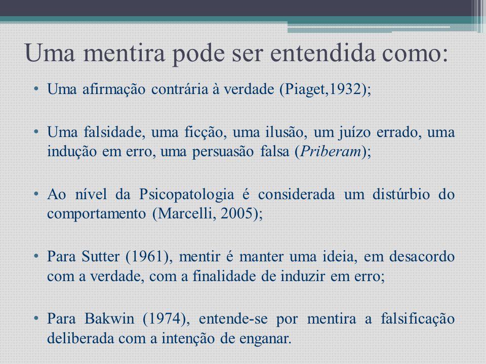 Uma mentira pode ser entendida como: • Uma afirmação contrária à verdade (Piaget,1932); • Uma falsidade, uma ficção, uma ilusão, um juízo errado, uma indução em erro, uma persuasão falsa (Priberam); • Ao nível da Psicopatologia é considerada um distúrbio do comportamento (Marcelli, 2005); • Para Sutter (1961), mentir é manter uma ideia, em desacordo com a verdade, com a finalidade de induzir em erro; • Para Bakwin (1974), entende-se por mentira a falsificação deliberada com a intenção de enganar.