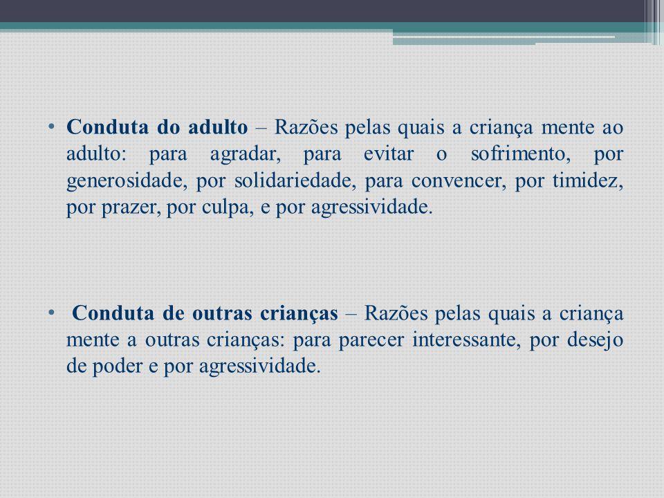 • Conduta do adulto – Razões pelas quais a criança mente ao adulto: para agradar, para evitar o sofrimento, por generosidade, por solidariedade, para convencer, por timidez, por prazer, por culpa, e por agressividade.