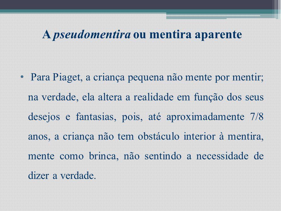 Segundo a mesma autora é possível distinguir 3 tipos de mentira: Pseudomentira ou mentira aparente Mentira socialMentira patológica