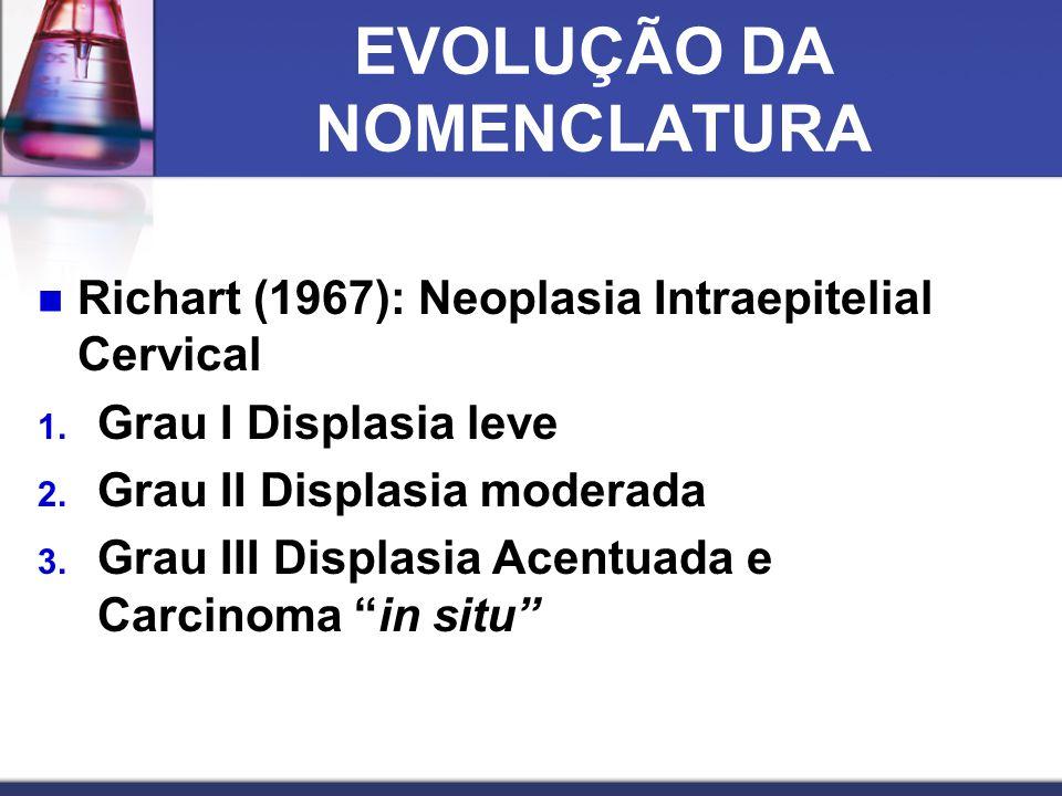 EVOLUÇÃO DA NOMENCLATURA  Richart (1967): Neoplasia Intraepitelial Cervical 1.