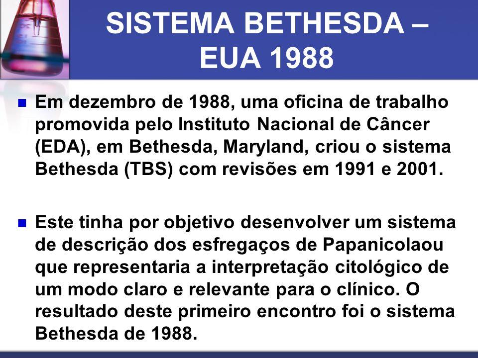SISTEMA BETHESDA – EUA 1988  Em dezembro de 1988, uma oficina de trabalho promovida pelo Instituto Nacional de Câncer (EDA), em Bethesda, Maryland, criou o sistema Bethesda (TBS) com revisões em 1991 e 2001.