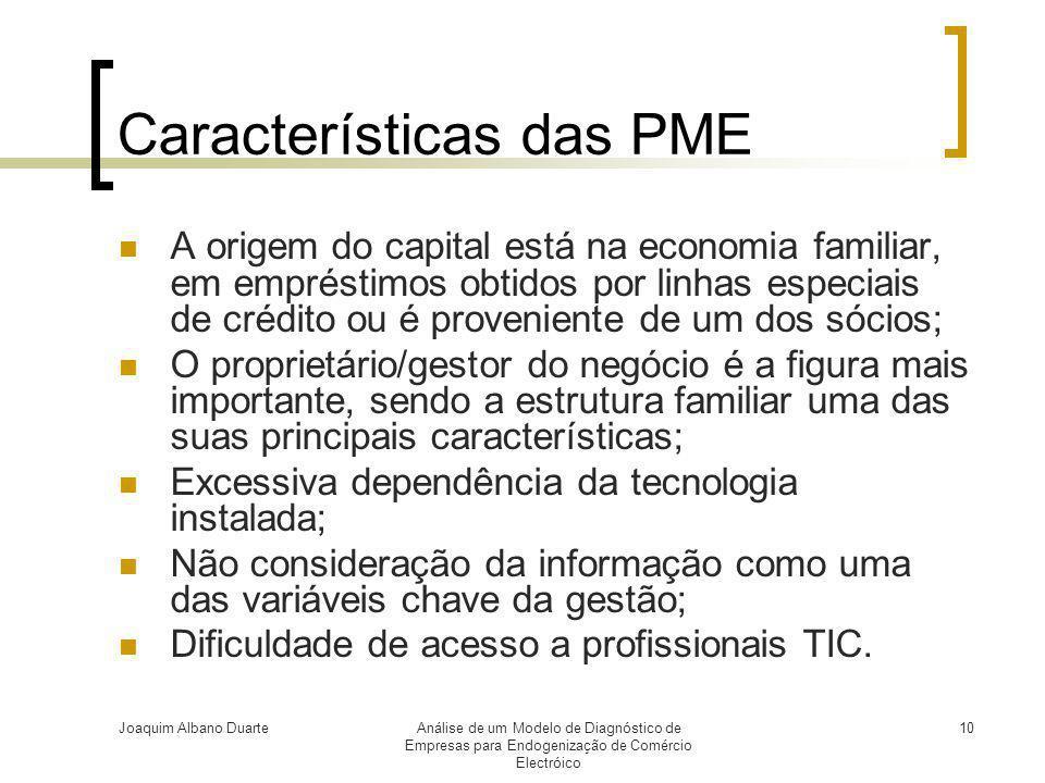 Joaquim Albano DuarteAnálise de um Modelo de Diagnóstico de Empresas para Endogenização de Comércio Electróico 10 Características das PME  A origem d