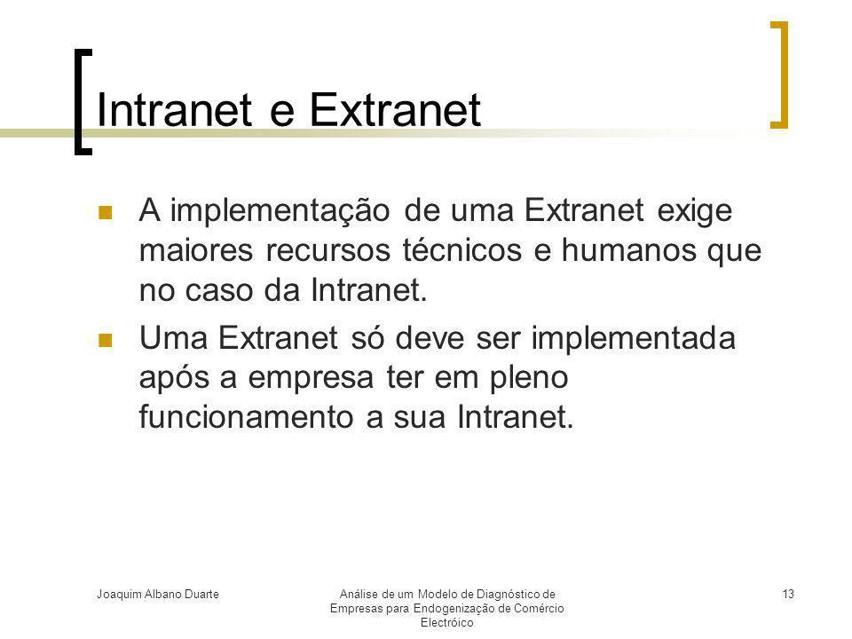 Joaquim Albano DuarteAnálise de um Modelo de Diagnóstico de Empresas para Endogenização de Comércio Electróico 13 Intranet e Extranet  A implementaçã
