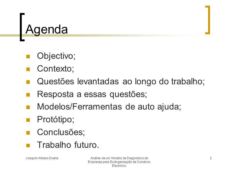 Joaquim Albano DuarteAnálise de um Modelo de Diagnóstico de Empresas para Endogenização de Comércio Electróico 2 Agenda  Objectivo;  Contexto;  Que