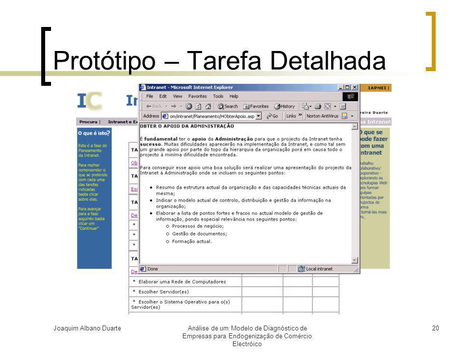 Joaquim Albano DuarteAnálise de um Modelo de Diagnóstico de Empresas para Endogenização de Comércio Electróico 20 Protótipo – Tarefa Detalhada