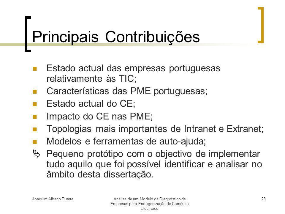 Joaquim Albano DuarteAnálise de um Modelo de Diagnóstico de Empresas para Endogenização de Comércio Electróico 23 Principais Contribuições  Estado ac