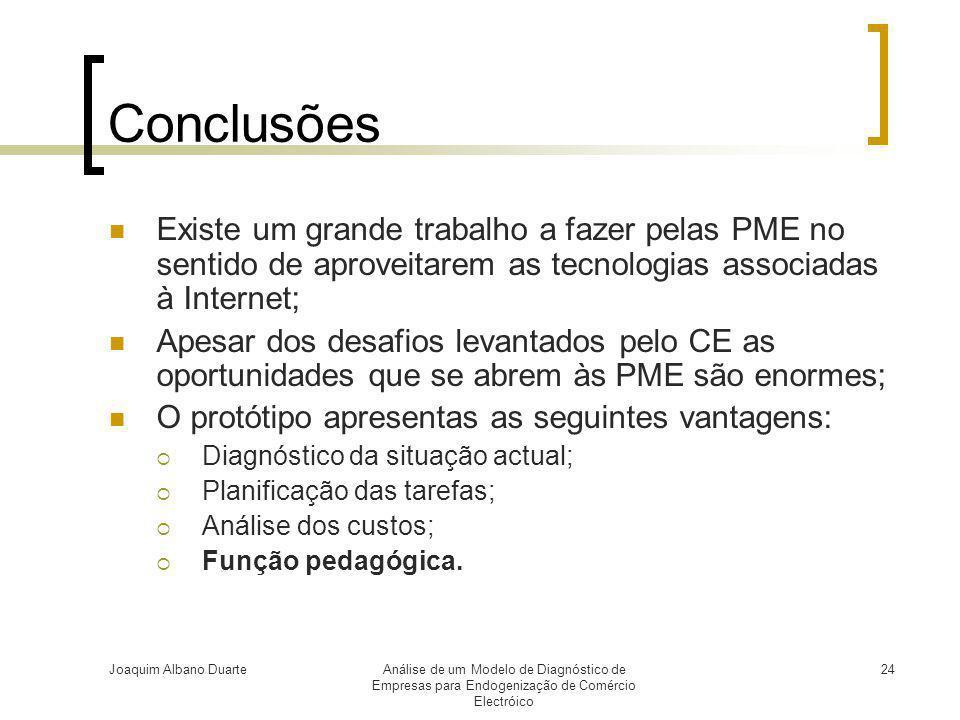 Joaquim Albano DuarteAnálise de um Modelo de Diagnóstico de Empresas para Endogenização de Comércio Electróico 24 Conclusões  Existe um grande trabal