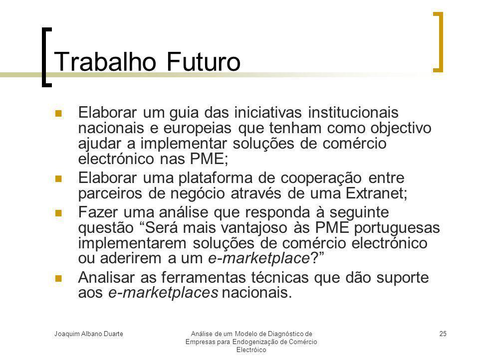 Joaquim Albano DuarteAnálise de um Modelo de Diagnóstico de Empresas para Endogenização de Comércio Electróico 25 Trabalho Futuro  Elaborar um guia d
