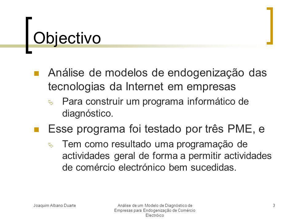 Joaquim Albano DuarteAnálise de um Modelo de Diagnóstico de Empresas para Endogenização de Comércio Electróico 3 Objectivo  Análise de modelos de end