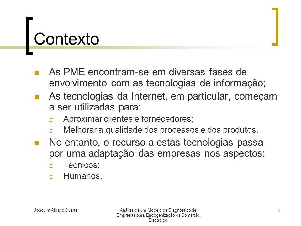 Joaquim Albano DuarteAnálise de um Modelo de Diagnóstico de Empresas para Endogenização de Comércio Electróico 4 Contexto  As PME encontram-se em div