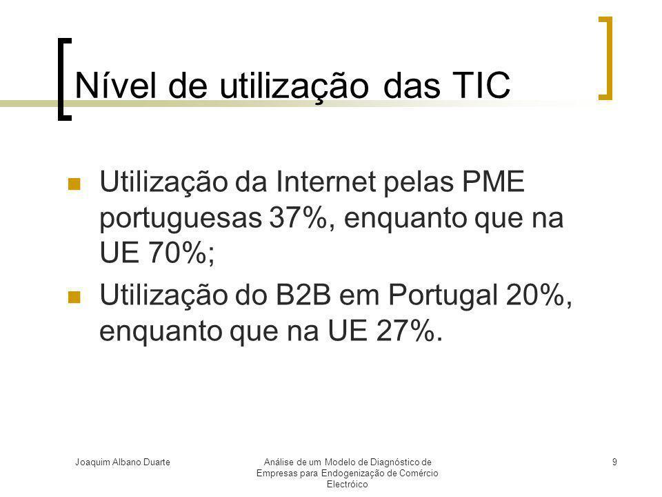 Joaquim Albano DuarteAnálise de um Modelo de Diagnóstico de Empresas para Endogenização de Comércio Electróico 9 Nível de utilização das TIC  Utiliza