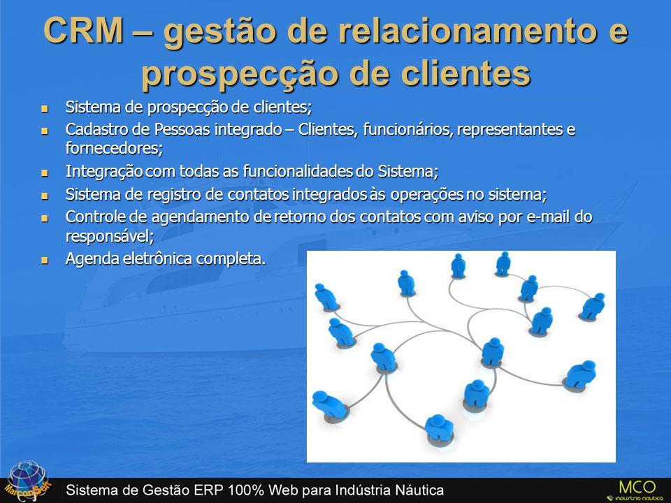 CRM – gestão de relacionamento e prospecção de clientes  Sistema de prospecção de clientes;  Cadastro de Pessoas integrado – Clientes, funcionários,
