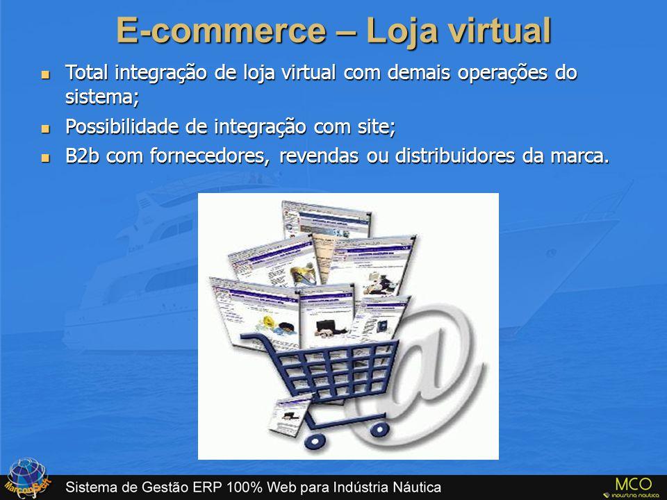 E-commerce – Loja virtual  Total integração de loja virtual com demais operações do sistema;  Possibilidade de integração com site;  B2b com fornec