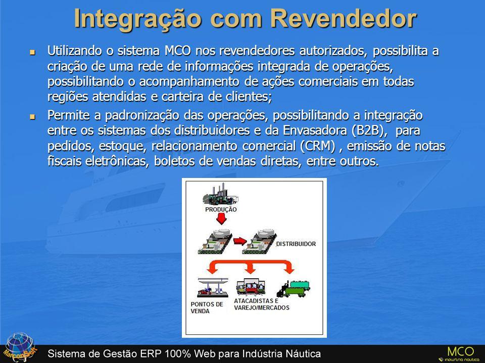 Integração com Revendedor  Utilizando o sistema MCO nos revendedores autorizados, possibilita a criação de uma rede de informações integrada de opera