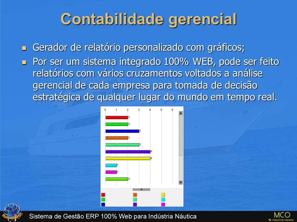Contabilidade gerencial  Gerador de relatório personalizado com gráficos;  Por ser um sistema integrado 100% WEB, pode ser feito relatórios com vári