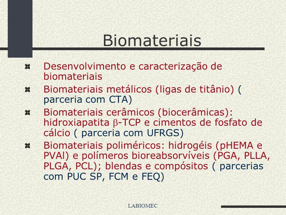 LABIOMEC Laboratório de Biomateriais e Biomecânica da Faculdade de Engenharia Mecânica da UNICAMP Principais linhas de pesquisa: Biomateriais Biomecân