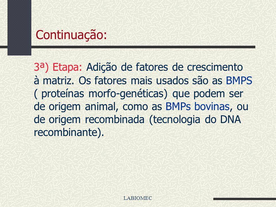 LABIOMEC Continuação: 2ª)Etapa: O cultivo de células em ambiente laboratorial próprio. Há dois tipos de células cultivadas: as células maduras e difer