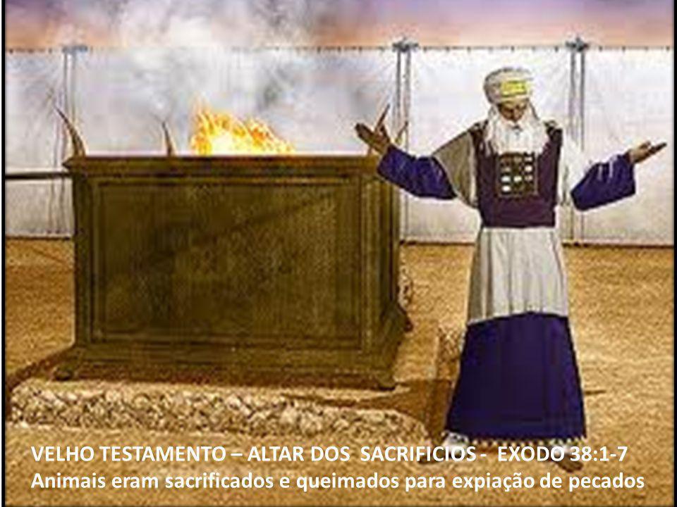 VELHO TESTAMENTO – ALTAR DOS SACRIFICIOS - EXODO 38:1-7 Animais eram sacrificados e queimados para expiação de pecados