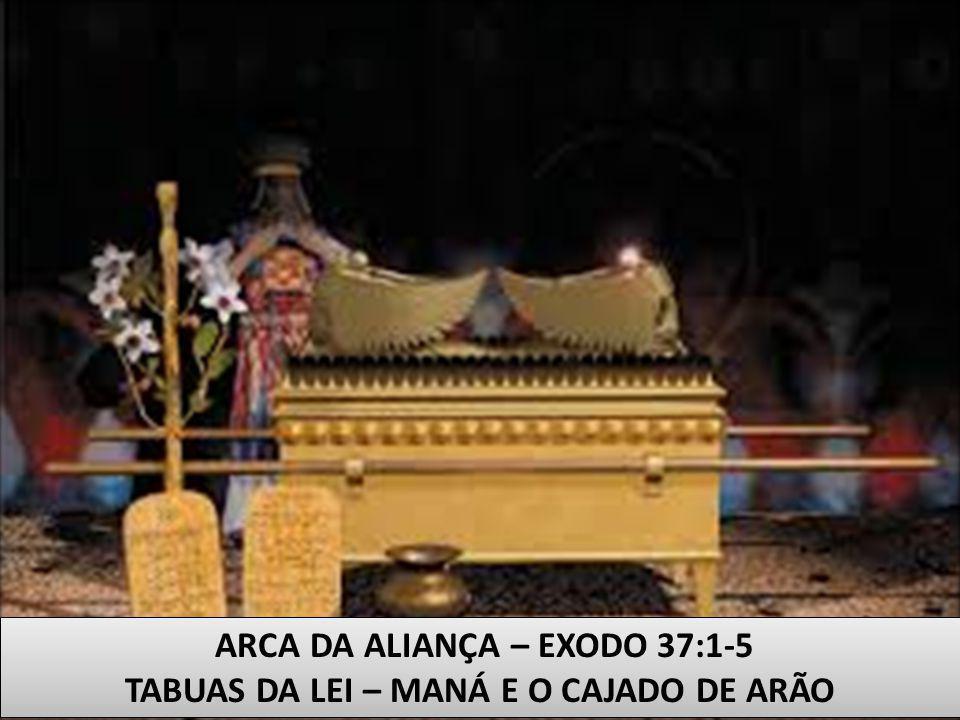ARCA DA ALIANÇA – EXODO 37:1-5 TABUAS DA LEI – MANÁ E O CAJADO DE ARÃO ARCA DA ALIANÇA – EXODO 37:1-5 TABUAS DA LEI – MANÁ E O CAJADO DE ARÃO