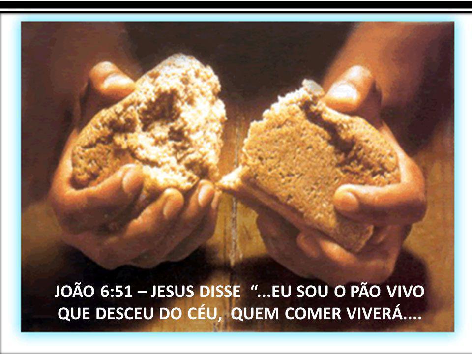 """JOÃO 6:51 – JESUS DISSE """"...EU SOU O PÃO VIVO QUE DESCEU DO CÉU, QUEM COMER VIVERÁ...."""