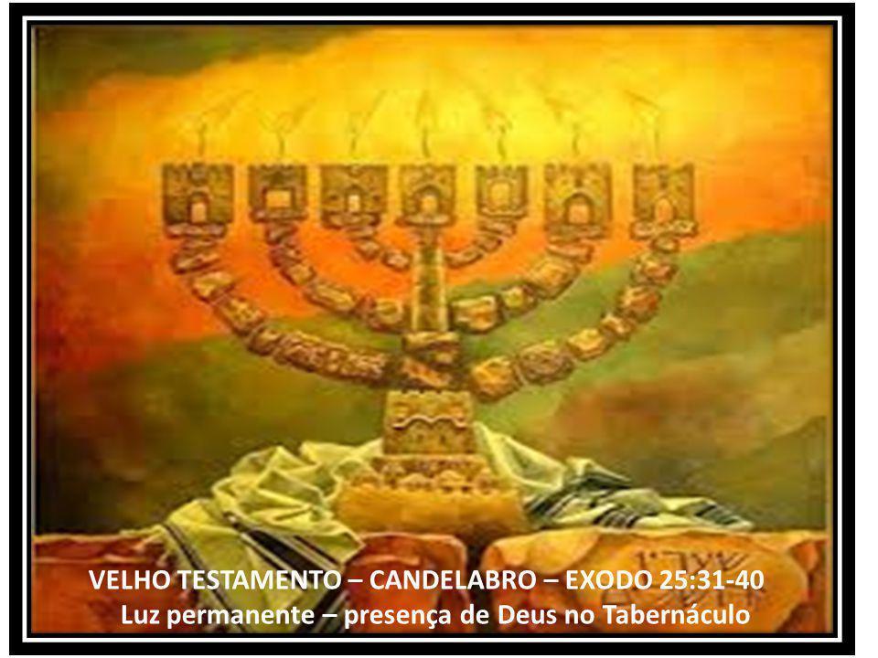 VELHO TESTAMENTO – CANDELABRO – EXODO 25:31-40 Luz permanente – presença de Deus no Tabernáculo