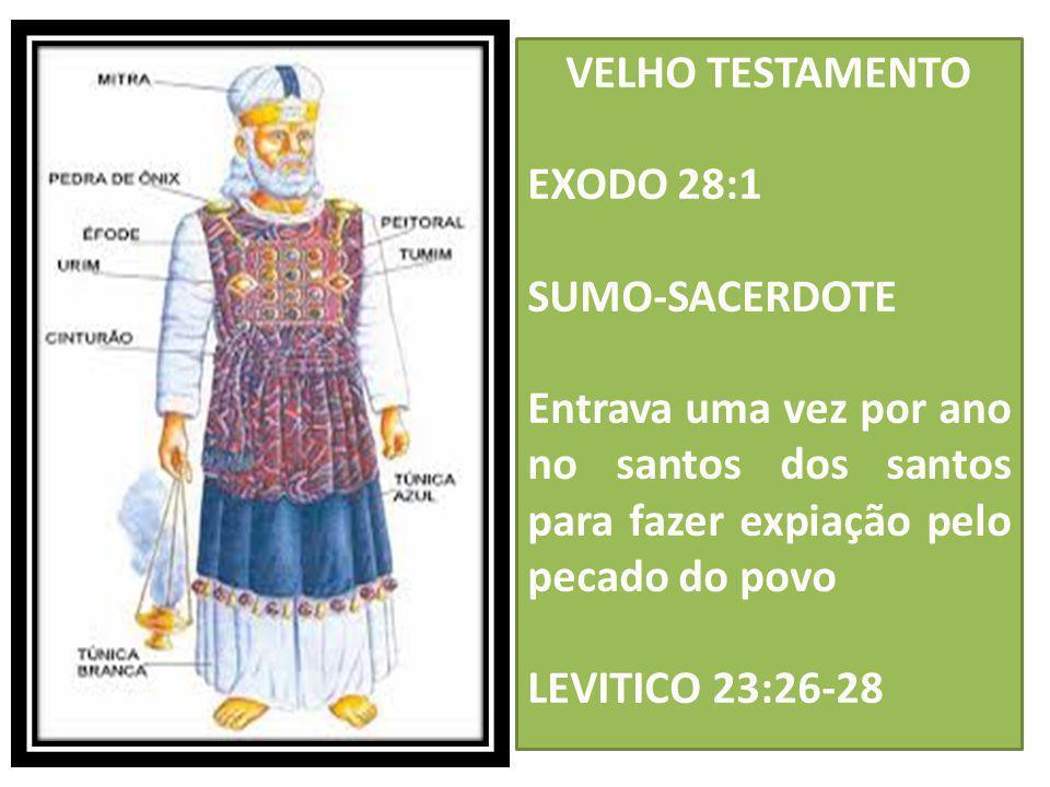 VELHO TESTAMENTO EXODO 28:1 SUMO-SACERDOTE Entrava uma vez por ano no santos dos santos para fazer expiação pelo pecado do povo LEVITICO 23:26-28