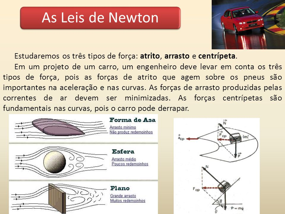 As Leis de Newton Estudaremos os três tipos de força: atrito, arrasto e centrípeta. Em um projeto de um carro, um engenheiro deve levar em conta os tr