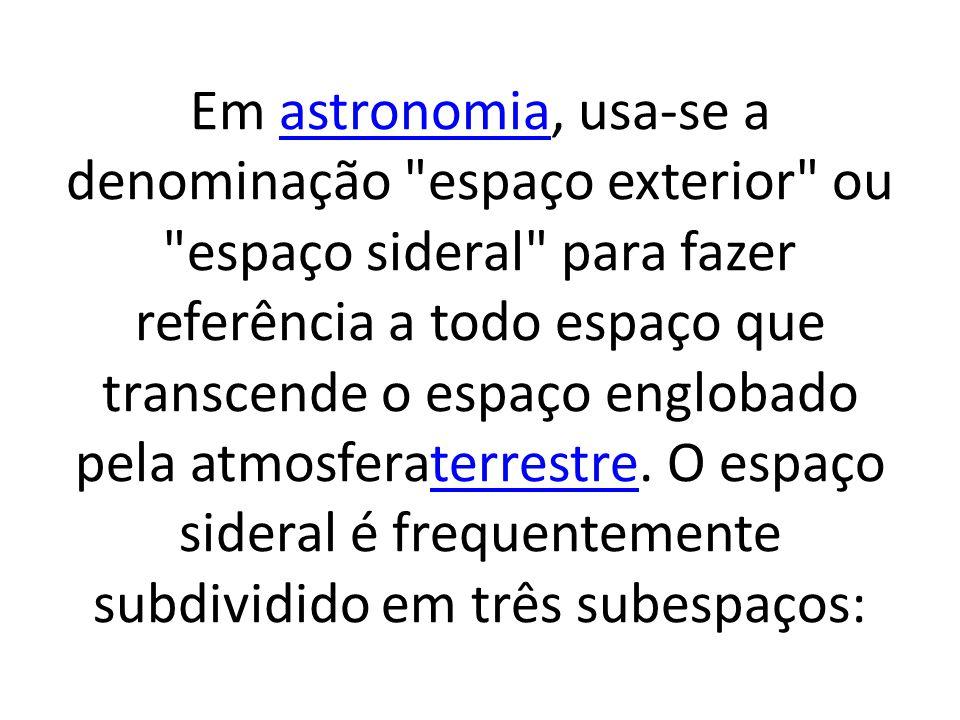 Em astronomia, usa-se a denominação espaço exterior ou espaço sideral para fazer referência a todo espaço que transcende o espaço englobado pela atmosferaterrestre.