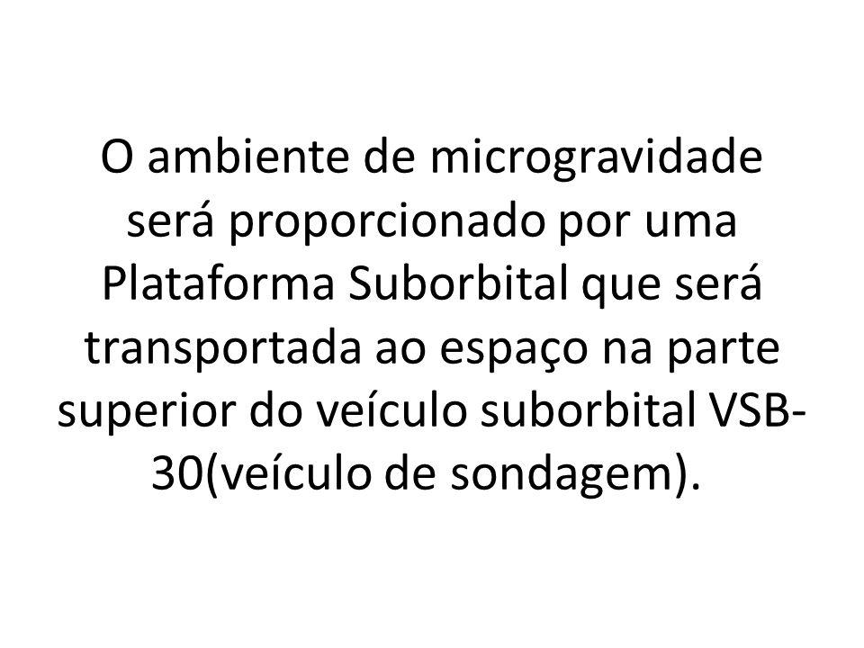 O ambiente de microgravidade será proporcionado por uma Plataforma Suborbital que será transportada ao espaço na parte superior do veículo suborbital VSB- 30(veículo de sondagem).