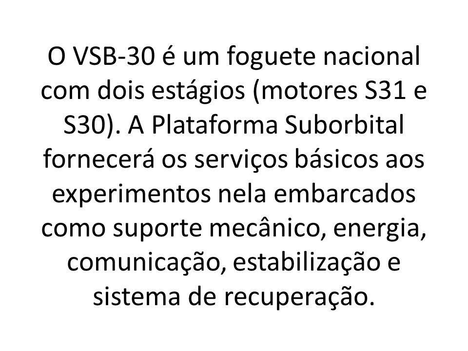 O VSB-30 é um foguete nacional com dois estágios (motores S31 e S30).