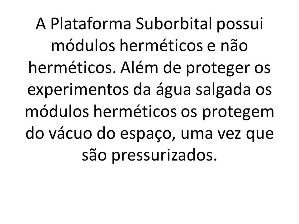 A Plataforma Suborbital possui módulos herméticos e não herméticos.