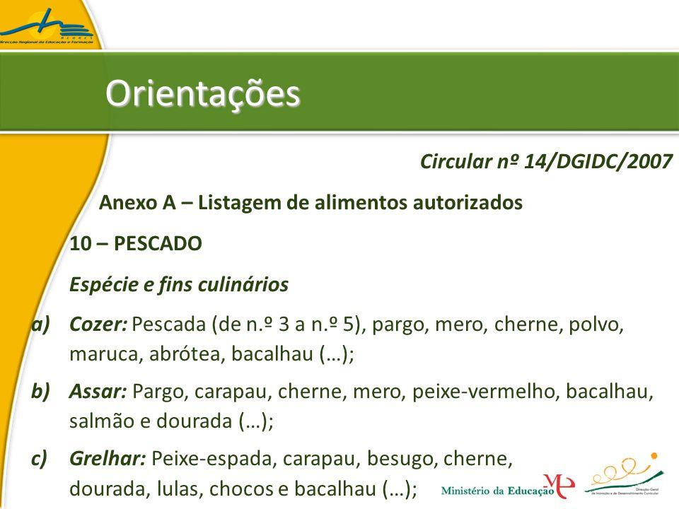 Circular nº 14/DGIDC/2007 Anexo A – Listagem de alimentos autorizados 10 – PESCADO Espécie e fins culinários a)Cozer: Pescada (de n.º 3 a n.º 5), pargo, mero, cherne, polvo, maruca, abrótea, bacalhau (…); b)Assar: Pargo, carapau, cherne, mero, peixe-vermelho, bacalhau, salmão e dourada (…); c)Grelhar: Peixe-espada, carapau, besugo, cherne, dourada, lulas, chocos e bacalhau (…); OrientaçõesOrientações