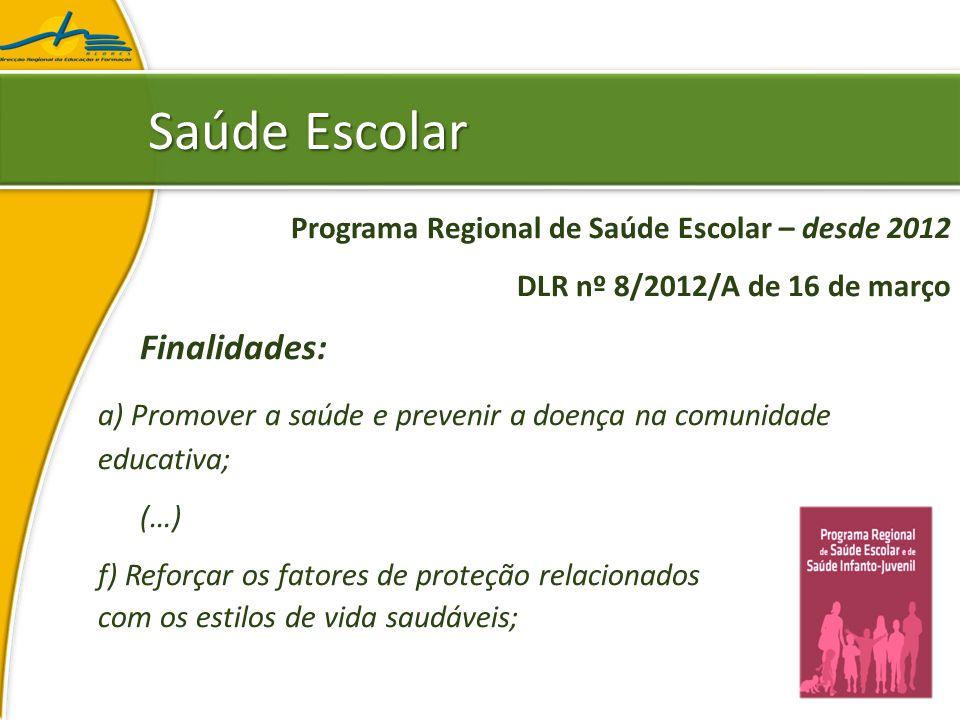 Saúde Escolar Programa Regional de Saúde Escolar DLR nº 8/2012/A de 16 de março Áreas de intervenção: a) Alimentação Saudável; (…) f) Ambiente e Saúde