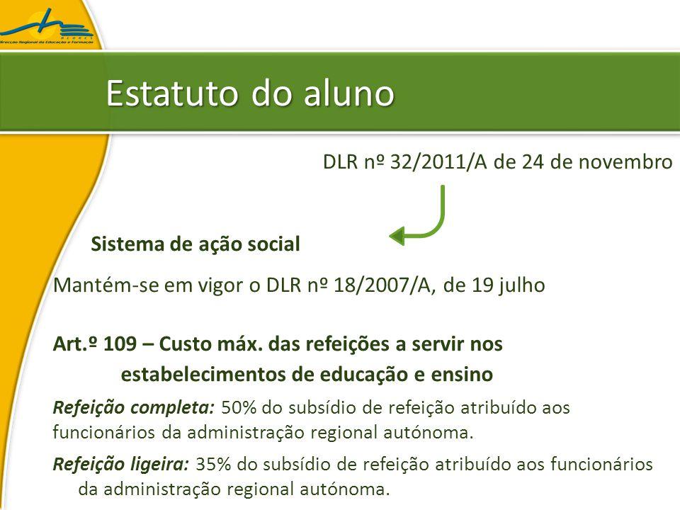 Estatuto do aluno DLR nº 32/2011/A de 24 de novembro Sistema de ação social Mantém-se em vigor o DLR nº 18/2007/A, de 19 julho Art.º 109 – Custo máx.