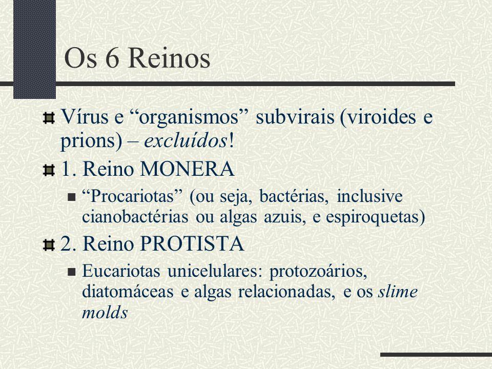 "Os 6 Reinos Vírus e ""organismos"" subvirais (viroides e prions) – excluídos! 1. Reino MONERA  ""Procariotas"" (ou seja, bactérias, inclusive cianobactér"