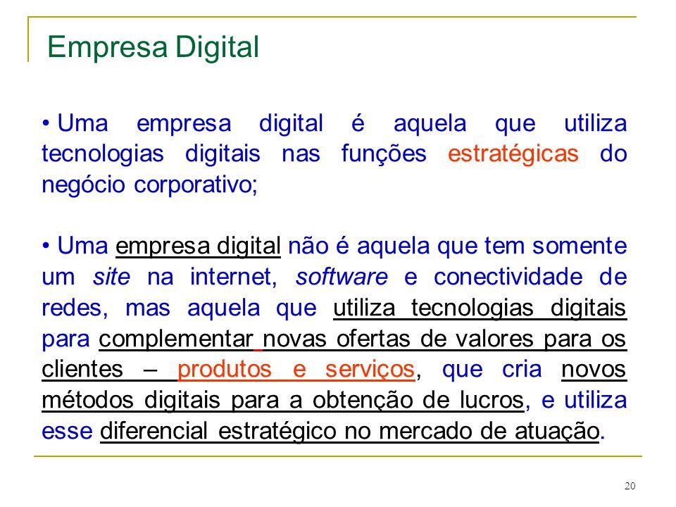 20 Empresa Digital • Uma empresa digital é aquela que utiliza tecnologias digitais nas funções estratégicas do negócio corporativo; • Uma empresa digi