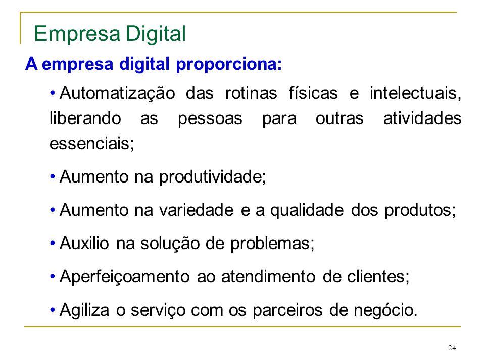 24 A empresa digital proporciona: • Automatização das rotinas físicas e intelectuais, liberando as pessoas para outras atividades essenciais; • Aument