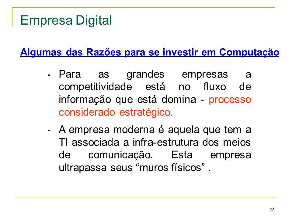 28 • Para as grandes empresas a competitividade está no fluxo de informação que está domina - processo considerado estratégico. • A empresa moderna é
