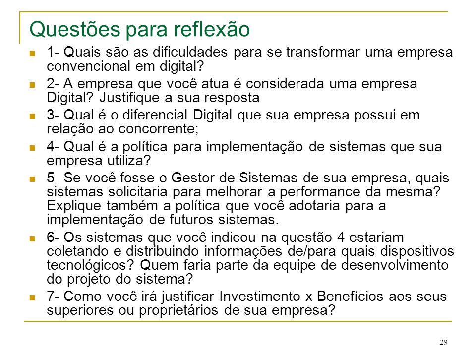 29 Questões para reflexão  1- Quais são as dificuldades para se transformar uma empresa convencional em digital?  2- A empresa que você atua é consi