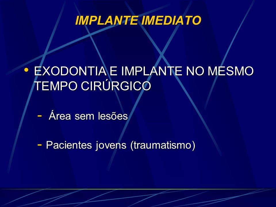 IMPLANTE IMEDIATO • EXODONTIA E IMPLANTE NO MESMO TEMPO CIRÚRGICO - Área sem lesões - Pacientes jovens (traumatismo)