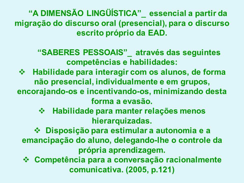 """""""A DIMENSÃO LINGÜÍSTICA""""_ essencial a partir da migração do discurso oral (presencial), para o discurso escrito próprio da EAD. """"SABERES PESSOAIS""""_ at"""