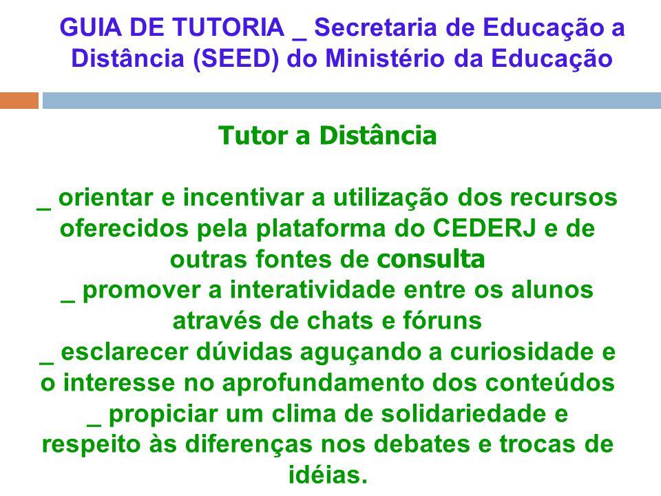 GUIA DE TUTORIA _ Secretaria de Educação a Distância (SEED) do Ministério da Educação Tutor a Distância _ orientar e incentivar a utilização dos recur