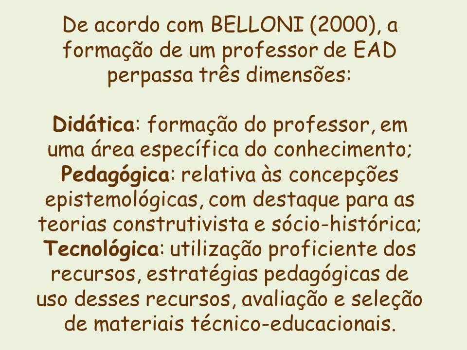 De acordo com BELLONI (2000), a formação de um professor de EAD perpassa três dimensões: Didática: formação do professor, em uma área específica do co