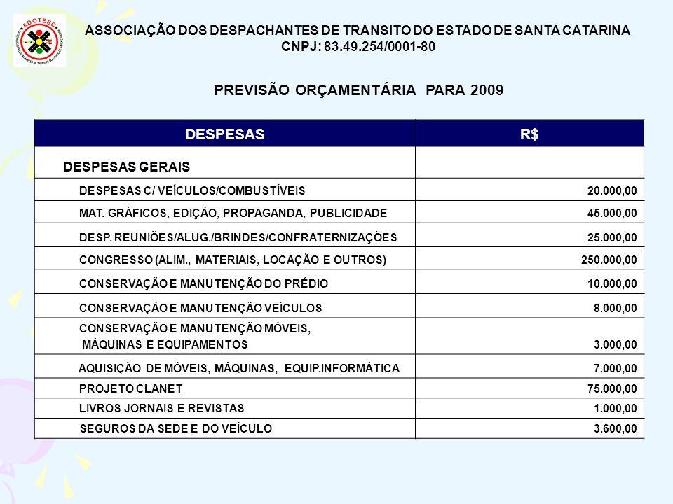 ASSOCIAÇÃO DOS DESPACHANTES DE TRANSITO DO ESTADO DE SANTA CATARINA CNPJ: 83.49.254/0001-80 PREVISÃO ORÇAMENTÁRIA PARA 2009 DESPESASR$ DESPESAS GERAIS