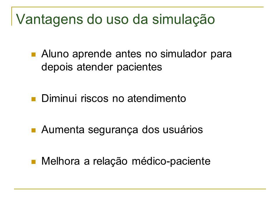 Vantagens do uso da simulação  Aluno aprende antes no simulador para depois atender pacientes  Diminui riscos no atendimento  Aumenta segurança dos usuários  Melhora a relação médico-paciente