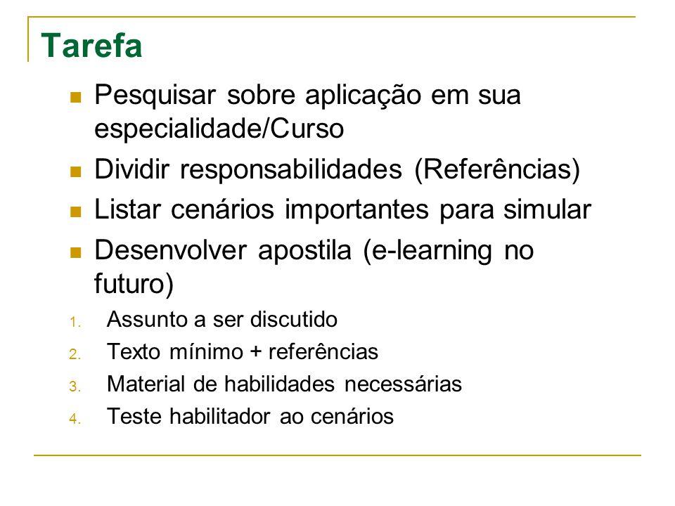 Tarefa  Pesquisar sobre aplicação em sua especialidade/Curso  Dividir responsabilidades (Referências)  Listar cenários importantes para simular  Desenvolver apostila (e-learning no futuro) 1.