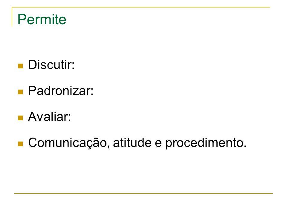 Permite  Discutir:  Padronizar:  Avaliar:  Comunicação, atitude e procedimento.