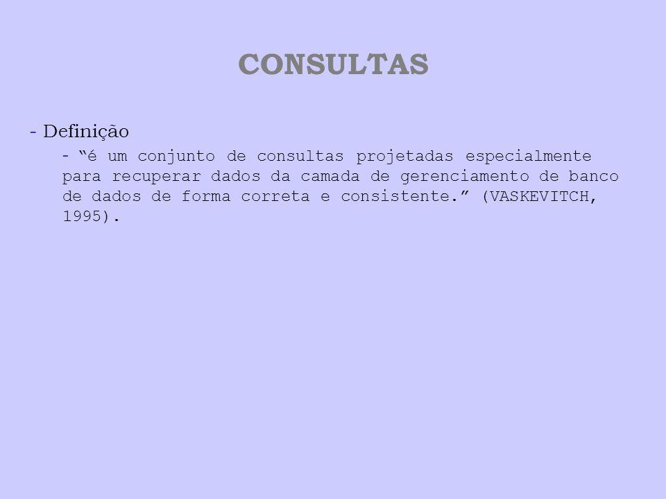 CONSULTAS - Definição - é um conjunto de consultas projetadas especialmente para recuperar dados da camada de gerenciamento de banco de dados de forma correta e consistente. (VASKEVITCH, 1995).