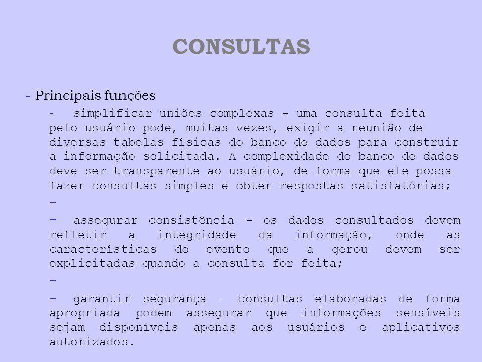 CONSULTAS - Principais funções - simplificar uniões complexas - uma consulta feita pelo usuário pode, muitas vezes, exigir a reunião de diversas tabel