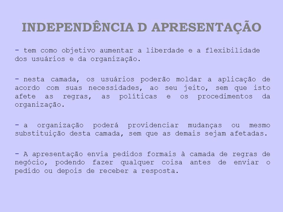 INDEPENDÊNCIA D APRESENTAÇÃO - tem como objetivo aumentar a liberdade e a flexibilidade dos usuários e da organização.